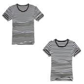 Round Neck Striped Short Sleeve Shirt