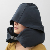 U Shape Travel Neck Pillow with Hat